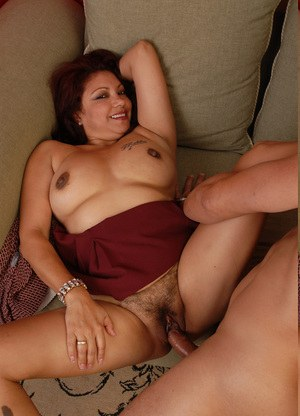 Amateur BBW chick with hairy pussy sucks and rides a cock and eats sperm