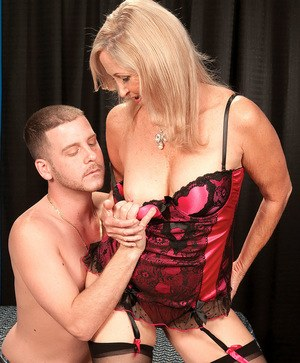 Blonde mature Connie McCoy intense sex encounter with young male's huge cock