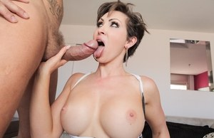 Tall MILF takes a ride on cock of a tattooed chap and swallows a load of jizz