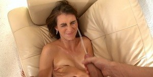 Amateur female Thena Sky takes a cumshot in the eye during pornstar tryout