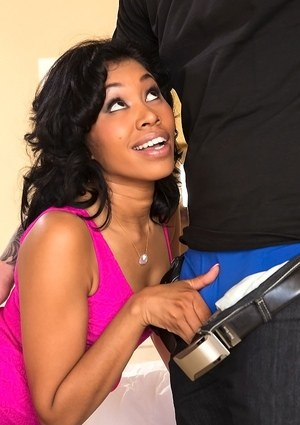 Ebony MILF Yasmine De Leon blows a white cock and poses with her mouth stuffed