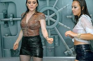 European vixens dance in wet clothes at a fetish party going really excited