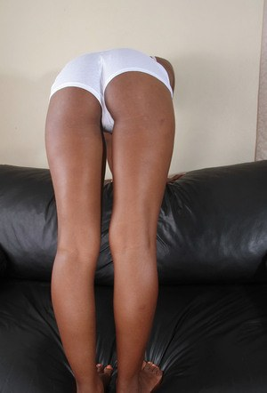 Ebony amateur chick takes off her white lingerie showing amazing black twat
