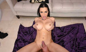 Brunette MILF Rachel Starr bounces on cock in a cowgirl and other positions