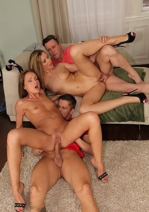European females Sophie Lynx and Angel Snow get busy with a groupsex fuck