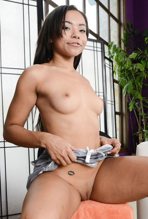 Long-haired ebony seductress Adrian Maya stretches pussy and shows her anal