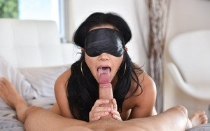 Asian Morgan Lee sucks heavy cock while blond folded and horny
