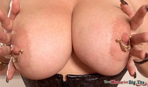 European housewife with huge saggy boobs Marina Rene creams her big melons