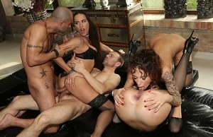 Bitchy European babes with juicy bodies gangbanged hardcore in a group action