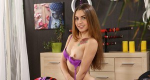 European sex doll Ella Rosa likes to play with sex toys shoving them in pussy