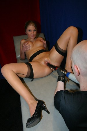 European vixen spreads legs and gets her oiled twat destroyed with weird toys