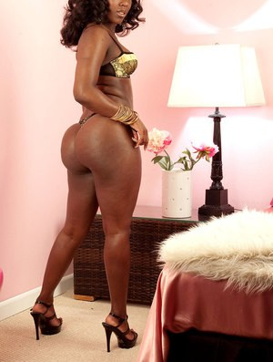 Big butt ebony woman Janea Jolie spreads thighs to reveal her tiny holes