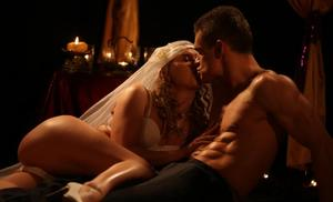 Horny couple fuck opt for a hard fuck by candlelight on their wedding night