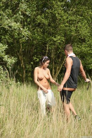 Teen with adorable boobs Anabelle blows and rides her guy's dick on a picnic