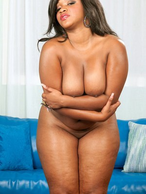 BBW ebony fatty Gizelle Stallion reveals her big appetising backside and tits