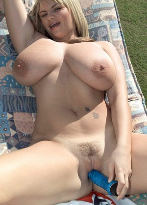 Wicked BBW angel with huge boobs Kelly Kay toys her bald cunt with a blue toy