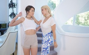Lesbians Lily Adams and Sarah Vandela stimulate pussies with twirling tongues