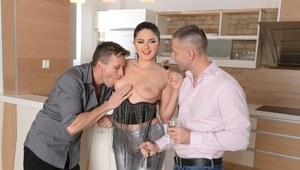 Franceska Dicaprio gets hard fucked on cam by two males during wild trio