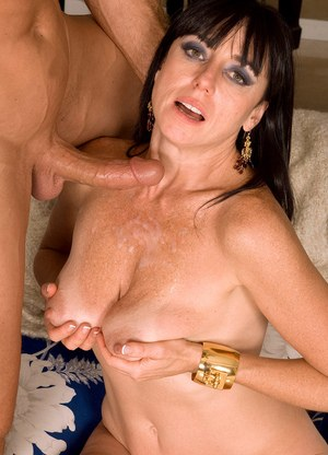 Mature Karen Kougar throats cock with passion then gets jizzed on tits