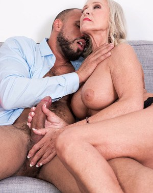 Granny with big round boobs Katia gets fucked by a strong guy with a big dick