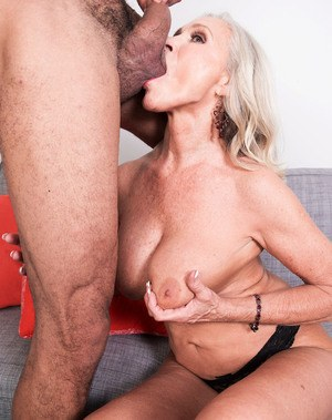 Elegant granny goes for a big cock and grinds of it like a real whore