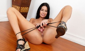 Lewd MILF Nikki Daniels stretches pussy lips showing off her pink inner beauty