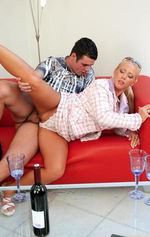 Crazy cougar Bibi Fox gets tempted by a dude for a clothed CFNM sex action