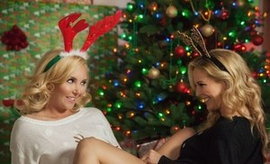 Mouth watering lesbian girlfriends celebrate Christmas by playing lesbian