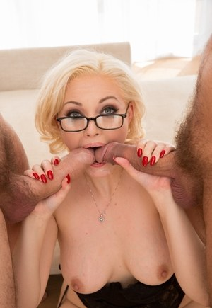 Blonde cougar in glasses Jenna Ivory fucked really hard by two strong guys
