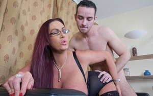 Fascinating MILF in glasses Emma Butt fucked by a young dude in various poses
