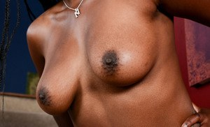 Black amateur Janelle Taylor undresses and spreads her labia lips open