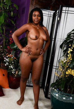 Ebony chick Janelle Taylor disrobes to model naked for the first time