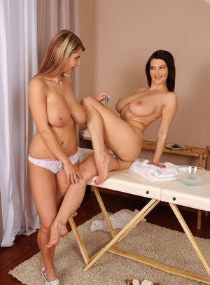 Busty lesbians Vanessa and Katerina Hartlova shave each others pubic hairs off