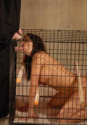 Slave girl is released from her cage for sex after forced masturbation