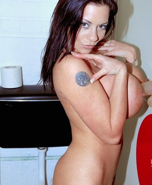 Euro chick Linsey Dawn McKenzie gets naked in a public restroom