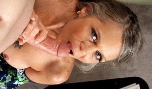 Chubby old woman Vixen Kitten bangs her young lover's big dick