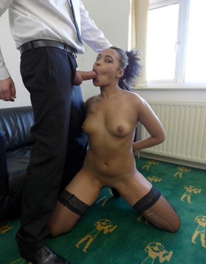 Submissive black chick Chanel Santos gives it up wearing black hose and boots