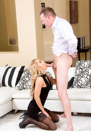 Clothed blonde wife Alix Lynx seduces her man with oral sex on her knees