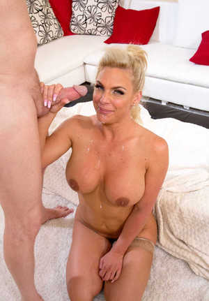 Chubby blonde Phoenix Marie goes ass to mouth wearing flesh colored stockings