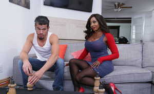 Hot older black woman Diamond Jackson seduces a young white boy by undressing