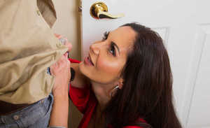 European cougar Ava Addams seduces younger dude by whipping out her hoooters