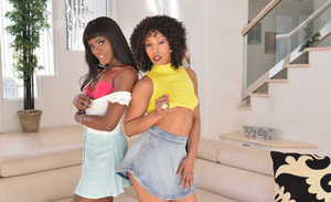 Hot black chicks Ana Foxxx and Misty Stone tongue kiss while getting undressed