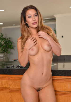 Asian solo model Eva Lovia peels off jeans and white thong in her kitchen