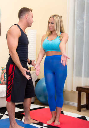 Hot cougar Olivia Austin seduces a dude in her tight fitting yoga clothes