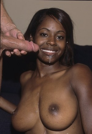 Busty black chick Kiwi fucks her guy until she wants his jizz in her mouth
