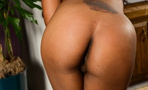 Ebony first timer Amber Cream parts her labia lips to expose her pink snatch