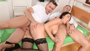 Hit brunette Nikky Perry does a double penetration at her guy's request