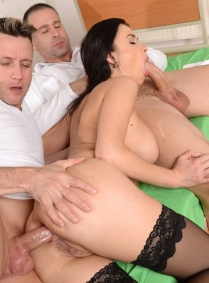 Brunette nurse Nikky Perry invites a doctor to join her for an MMF s3ome