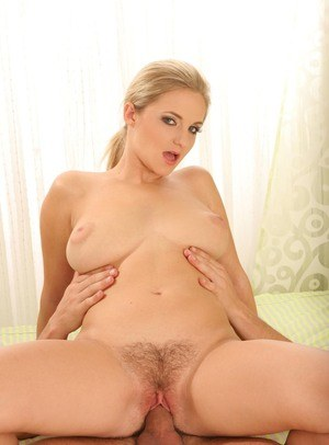 Busty blonde beauty with a trimmed muff gets banged before a creampie