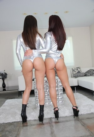Hot Latina chicks Mischa Brooks & Vicki Chase peel jumpers over big butts